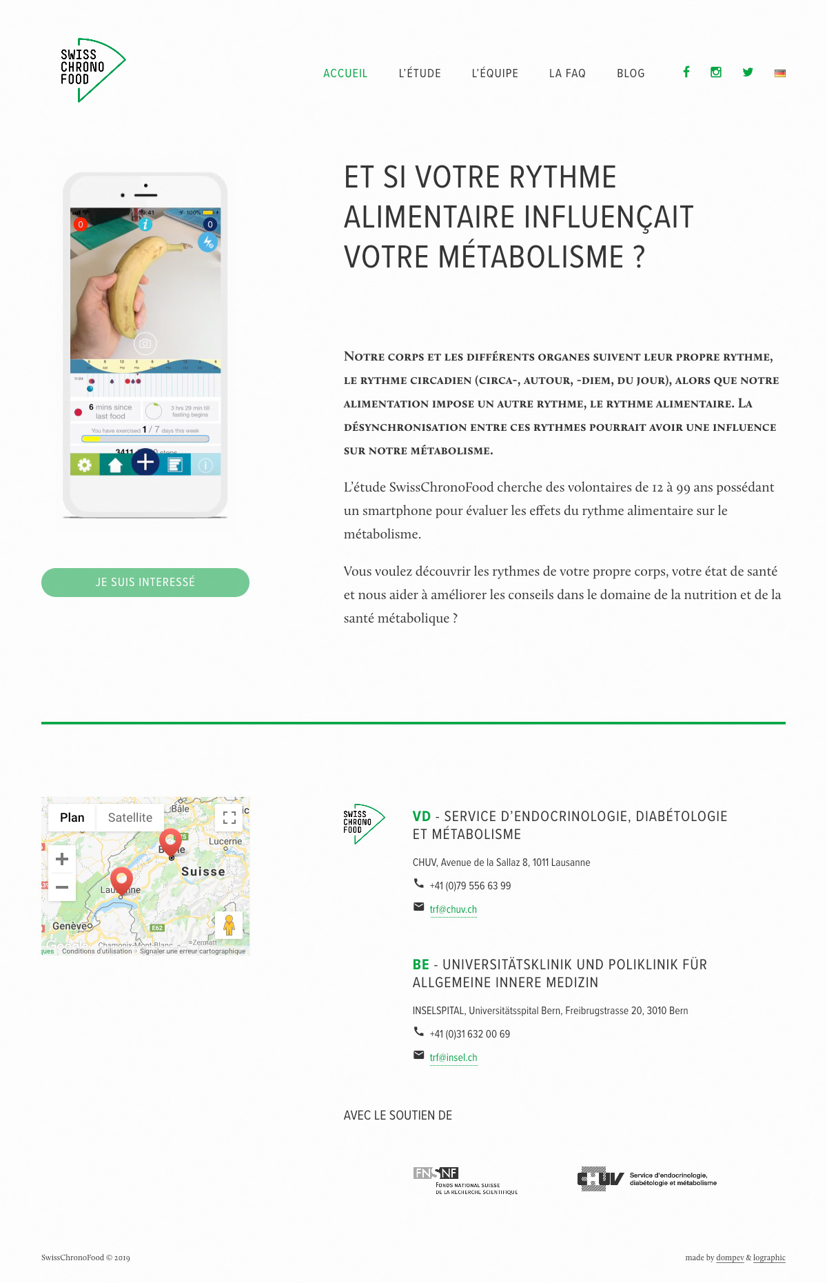 L'interface de la home page du site internet swisschronofood
